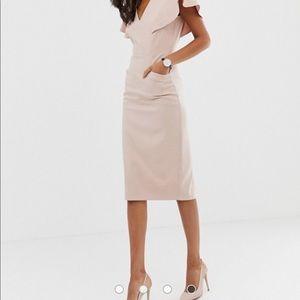 ASOS angel sleeve midi pencil dress in blush sz 8